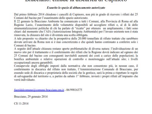 Bracciano (Roma): chiude la discarica di Cupinoro. Qualche domanda.