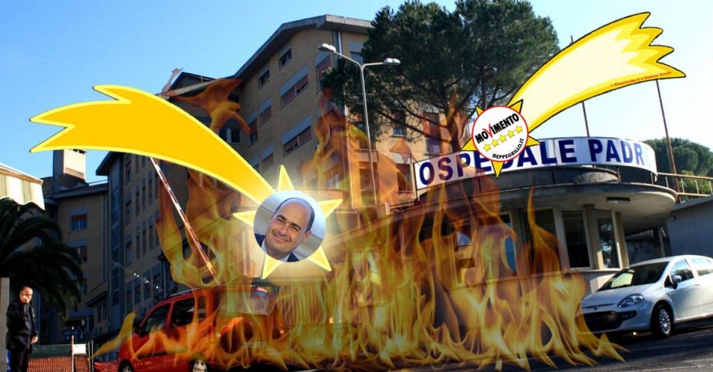 Ospedale Padre Pio - fuoco Zingaretti M5S
