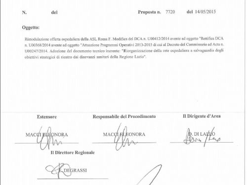 Decreto 7720: Nicola Zingaretti riapre l'ospedale di Bracciano