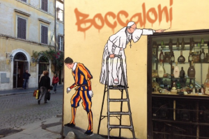 Il nuovo murale del Papa a Borgo Pio