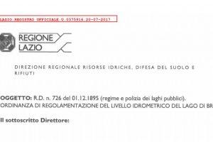 Ordinanza di regolamentazione del livello idrometrico del Lago di Bracciano