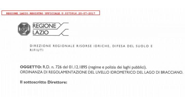 Ordinanza Regione Lazio Sospensione Captazioni lago Bracciano